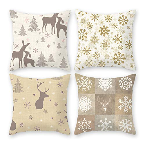 Imandale Christmas Decorative Cushion Covers Funda para Cojines De Navidad 18''x18'' Reindeer Pillow Cases Set of 4 for Home, Dorm, Office and Car(White&Beige) (Christmas Cushions)