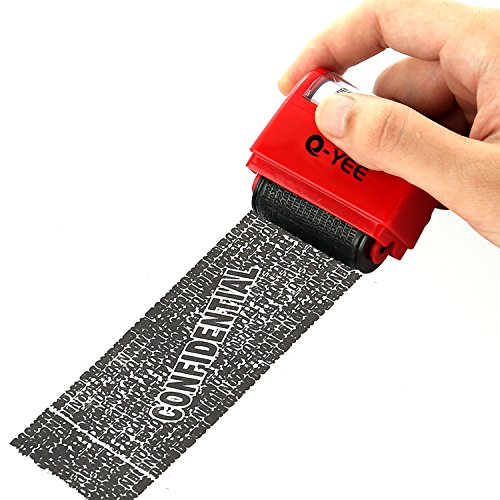 Q-YEE Security Wide Roller Stamp Identity Theft Stamp Perfect for Privacy Protection (Red)