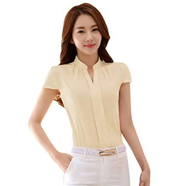 753e8368b3e EFINNY Women Office T-Shirt Uniform OL V Neck Henley Blouse Workwear Tops  (Small