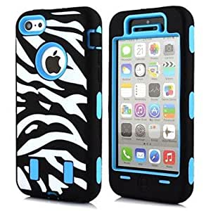 2 in 1 Zebra Robot Style PC and Silicone Composite Case for iPhone 5C(Assorted Colors) , Blue