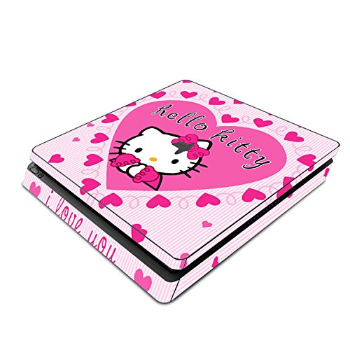 Decorative Video Game Skin Decal Cover Sticker for Sony PlayStation 4 Slim Console PS4 - Hello Kitty Hearts Princess