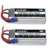 HRB 2pcs 6S 22.2V 4000mAh 60C Lipo Battery with EC5