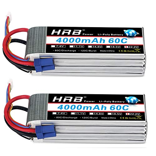 (HRB 2pcs 6S 22.2V 4000mAh 60C Lipo Battery with EC5 Plug for RC Quadcopter Helicopter Car Truck Boat Hobby )
