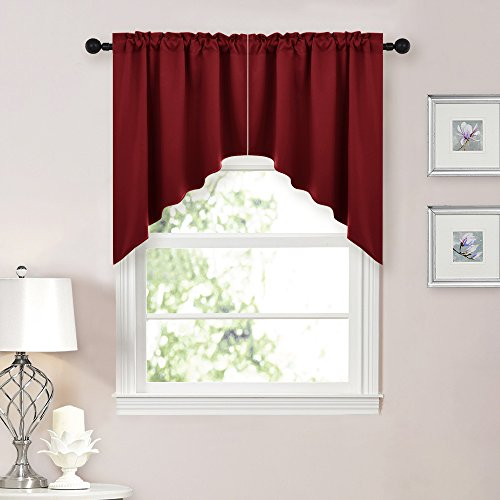 NICETOWN Blackout Kitchen Tier Curtains- Tailored Scalloped Valance/Swags for Living Room (1 Set, 36 inches W X 36 inches L Each Panel, Burgundy) (Window Treatments Valances Window Bay)