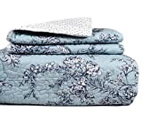 Bella Lux French Country Garden Cotton 3 Piece Double Full Queen Quilt Set Reversible to Polka Dot Light Blue White Navy Floral Toile Quilted Bedding
