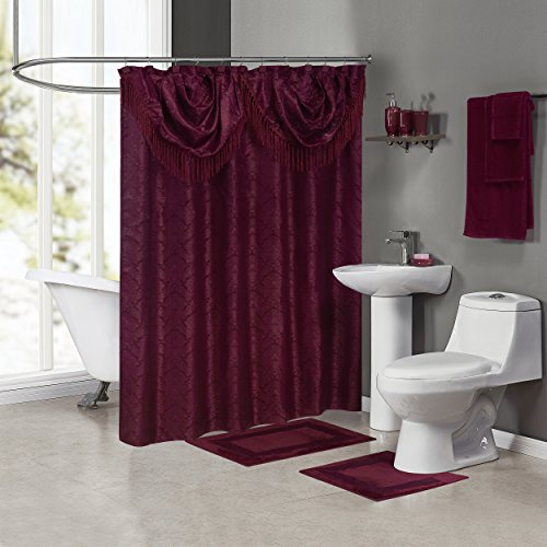 - Madison MCL-SET-6X6-BU Jacquard Deluxe Bath in a Box Ensemble, Burgundy