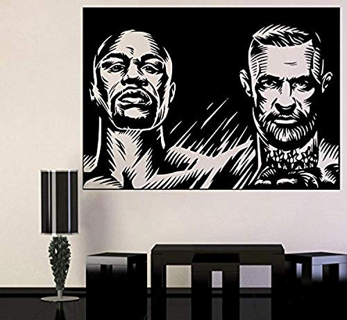 Champion Fight Wall Poster Champions UFC vs Boxing Vinyl Sticker Conor McGregor vs Floyd Mayweather Jr. Wall Vinyl Decal UFC Boxing Wall Mural Home Interior Decor Livingroom Art Bedroom CSCS111 (Boxing Floyd Mayweather Jr Vs Conor Mcgregor)