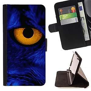 - FELINE BLUE YELLOW PORTRAIT CAT CLOSE EYE - - Prima caja de la PU billetera de cuero con ranuras para tarjetas, efectivo desmontable correa para l Funny HouseFOR Samsung Galaxy S4 Mini i9190