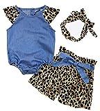SUPEYA Toddler Baby Girls Denim Ruffled Romper+Leopard Shorts+Headband 3Pcs Set