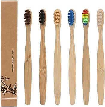 DAYOLY Cepillo de dientes de bambú, color arcoíris, ecológico ...