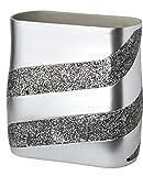 Dwellza Silver Mosaic Bathroom Trash Can (11'' x 5.5'' x 11'') Decorative Wastebasket- Resin Waste Paper Baskets Design- Space Friendly Bath Rubbish Trash Can (Silver Gray)