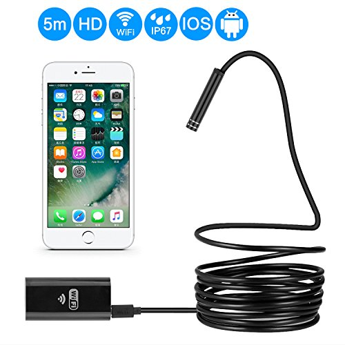 Eocean Wireless Endoscope, 5 Meters WiFi Borescope Inspection Camera, Waterproof Endoscope 2 Megapixels HD Camera for iOS, Android, Windows and Mac, iPhone, Samsung Smartphone, Laptop, Tablet