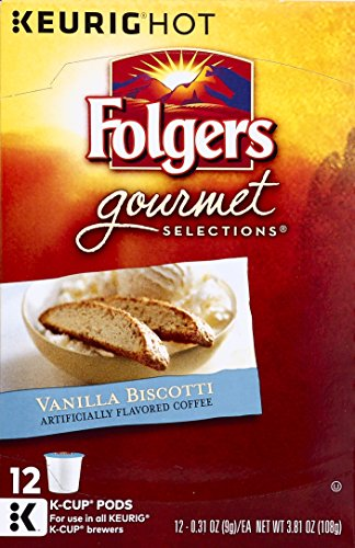 Folgers Vanilla Biscotti Flavored Coffee K Cup Pods for Keurig Brewers, 12 Count