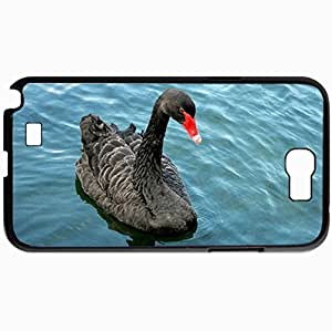 Personalized Protective Hardshell Back Hardcover For Samsung Note 2, Design In Black Case Color Swan Design In Black Case Color