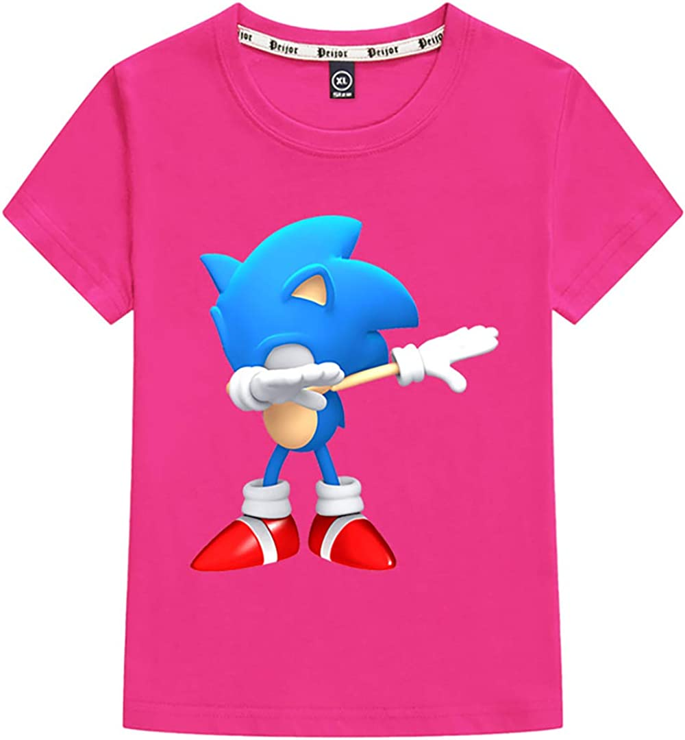Silver Basic Sonic The Hedgehog Tee for Boys and Girls Summer T-Shirt