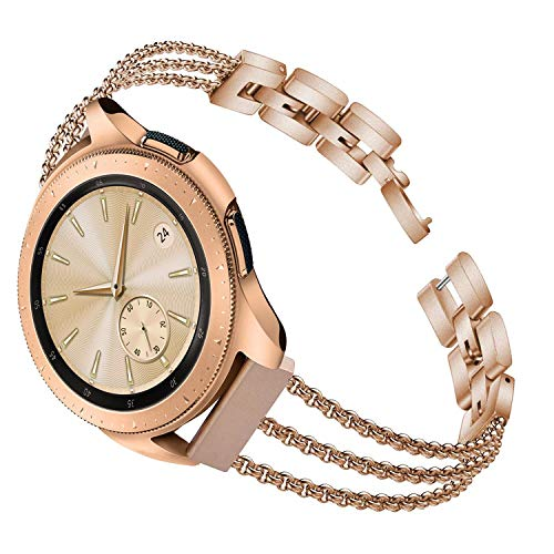 - TOROTOP Compatible for Galaxy Watch 42mm Band,20mm Rose Gold Metal Stainless Steel Chain Bangle Bracelet Replacement Compatible for Samsung Galaxy Watch 42mm R810/Active 40mm/Garmin Vivoactive 3 Watch