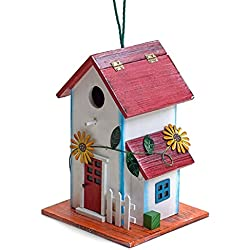 Hand-painted Wooden Birdhouse with Flowers Outdoor Garden Decor by Bo Toys
