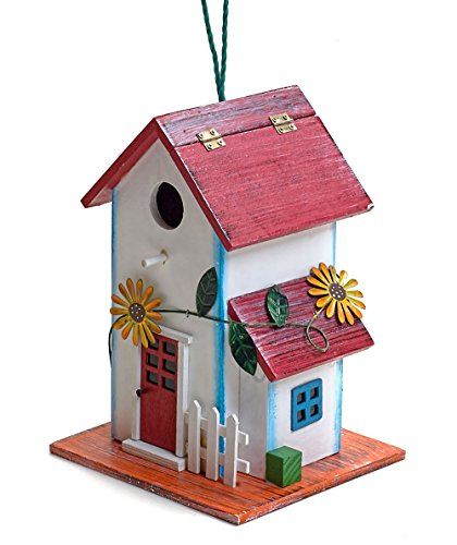 - Hand-painted Wooden Birdhouse with Flowers Outdoor Garden Decor by Bo Toys