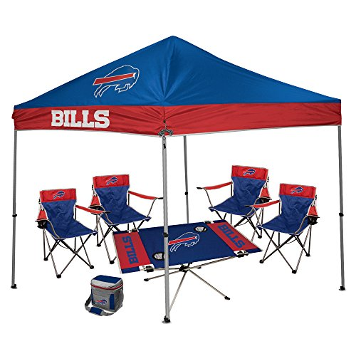 NFL Hall of Fame Tailgate Bundle - Buffalo Bills (1 9X9 Canopy, 4 Kickoff Chairs, 1 16 Can Cooler, 1 Endzone Table)