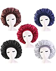 Cospack 5 Pack Satin Silk Bonnet Sleep Cap Extra Large Jumbo Day and Night Cap Hat Salon Bonnet Head Hair Covers Chemo Caps With Elastic Wide Band For Black Women Long Curly Natural Hair Braids