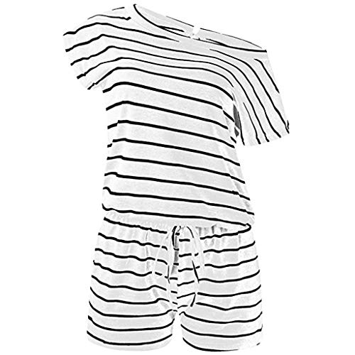 YKARITIANNA Women's Summer Short Sleeve Striped Jumpsuit Rompers Short Pant Rompers Playsuit White