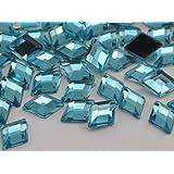 10x7mm Aqua Lite .QR120 Flat Back Diamond Acrylic Jewels High Quality Pro Grade - 100 Pieces