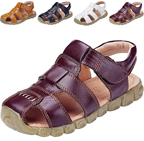 DADAWEN Boy's Girl's Leather Closed Toe Outdoor Sandal (Toddler/Little Kid/Big Kid) Brown US Size 6 M (Us Size Chart Kids)