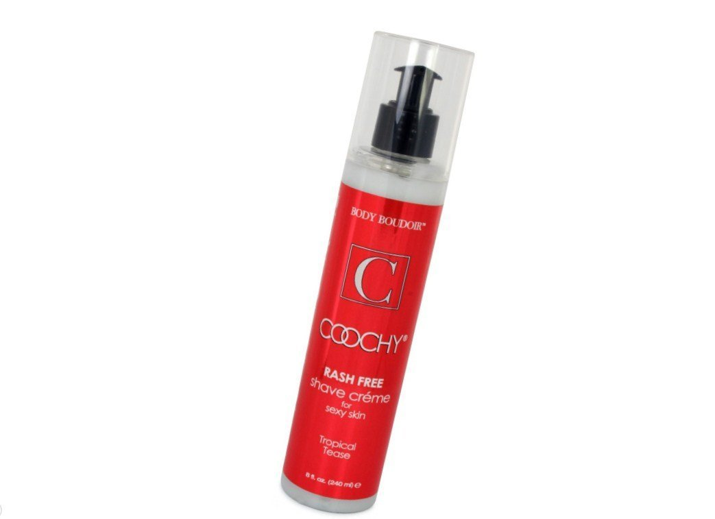 Coochy Water Based Shave Cream Skin Protection Tropical Tease (Safe for All Body Parts Including Face and Intimate Areas) - Size 8 Oz Classic Erotica