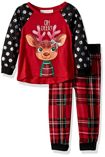 Peas & Carrots Toddler Girls' Holiday Plaid Oh Deer 2pc Jogger Sleep Set, Red Plaid, 3T