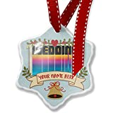 Add Your Own Custom Name, Retro Cites States Countries Wedding Christmas Ornament NEONBLOND