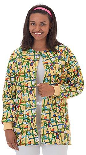 Bio Women's Warm Up Frog Print Scrub Jacket Medium ()