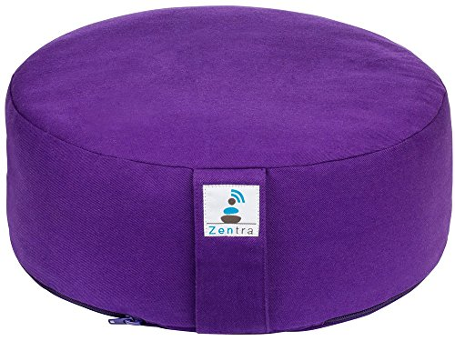 Zentra Zafu Yoga Meditation Cushion with Buckwheat Hull Non-Pleated (Purple)