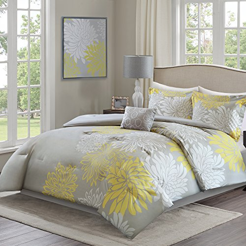 Comfort Spaces – Enya Comforter Set - 5 Piece – Yellow, Grey – Floral Printed – Full/Queen size, includes 1 Comforter, 2 Shams, 1 Decorative Pillow, 1 Bed Skirt (Yellow Bedding Blue Gray)