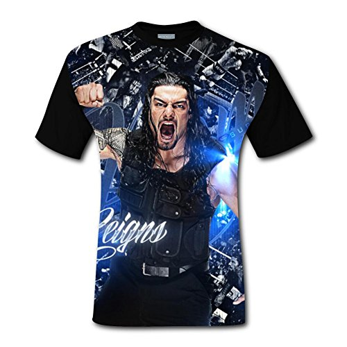 Roman Reigns Men's Top T-Shirt Fashion Short Sleeve Tee Shirts for Men L -