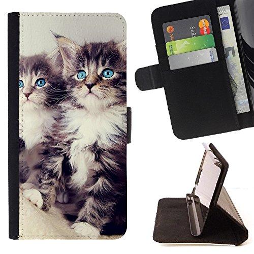 God Garden - FOR Apple Iphone 6 - Cute Blue Eyes Kittens - Glitter Teal Purple Sparkling Watercolor Personalized Design Custom Style PU Leather Case Wallet Fli