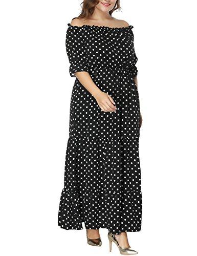 Dasior Hors Manches Courtes Épaule Femmes Maxi Taille Élastique Robe De Soirée Taille Plus Bohême Noir