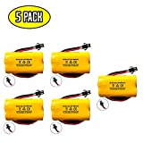 (5 pack) Exit Sign Emergency Light NiCad Battery Replacement 3.6v 900mAh Lithonia ELB B001 ELBB001 ELB-B001 Unitech AA900MAH Lithonia EU2 LED Unitech 0253799 Interstate ANIC1566