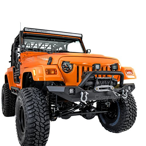GSI 97-06 Jeep Wrangler TJ Rock Crawler Front Bumper with Winch Mount Plate, Built in 2x Square LED Side Mount (Black)