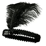 Sequined Show Girl Party Flapper Headband Headdress with Feather Plume
