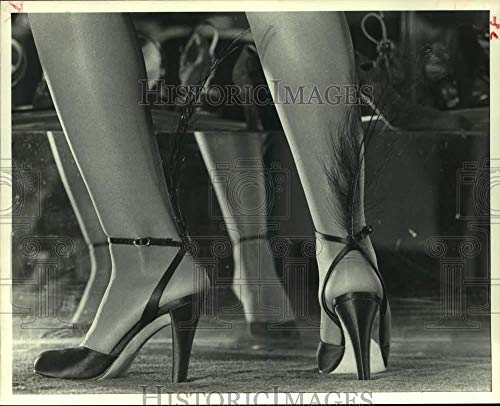 Vintage Photos 1979 Press Photo Yves St. Laurent Shoes with Black Plumes on Ankle Straps (Yves St Laurent Shoes)