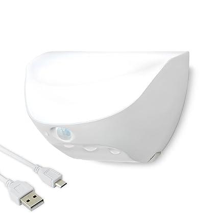 LED Luz Sensor Luz de noche inducción de Movimiento Focos para Pared Exterior Impermeable USB carga