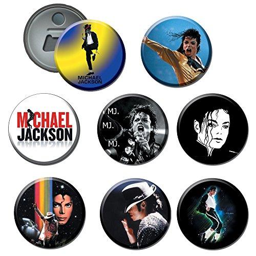 Michael Jackson #1 : Button Bottle / Beer Opener / Fridge Magnet 2.25 Inch (Set of ()