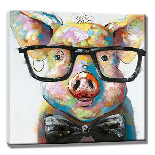 SEVEN WALL ARTS 100% Hand Painted Colorful Animal Painting Cute Smart Potter Pig with Glasses Decorative Framed Artwork for Home Wall Decoration