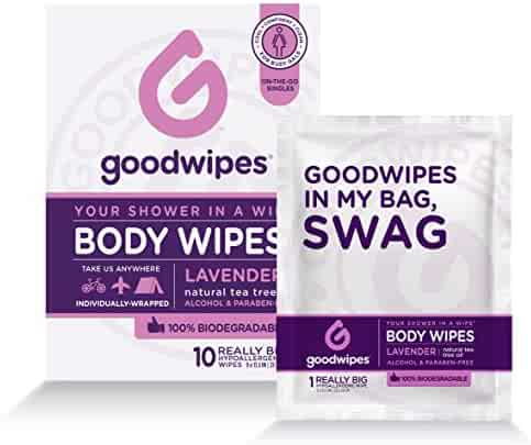 GoodWipes Women's Deodorizing Body Biodegradable Wipes, Lavender, with Naturally Soothing Tea Tree and Aloe, Hypoallergenic for Travel, Never Sticky, No Residue, No dry Skin 1 Pack of 10 Wipes