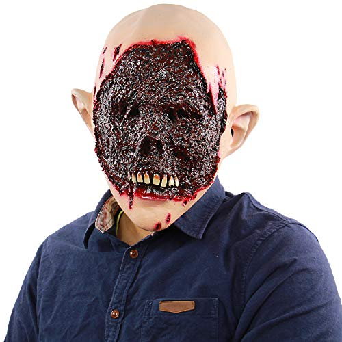 Man's Scary Halloween Zombie Masks Costume Party Props Horror Rotten Bloody Monster Latex Head Mask -