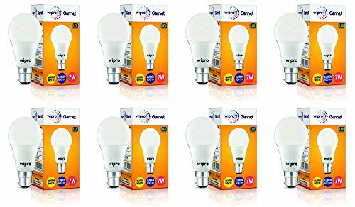 Wipro Garnet Base B22 7-Watt LED Bulb (Pack of 8, Warm White)