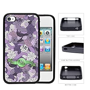 Pretty Purple Lilac Floral Flowers Pattern LETTER INITIAL MONOGRAM Green Stripe Banner iPhone 4 4s Rubber Silicone TPU Cell Phone Case