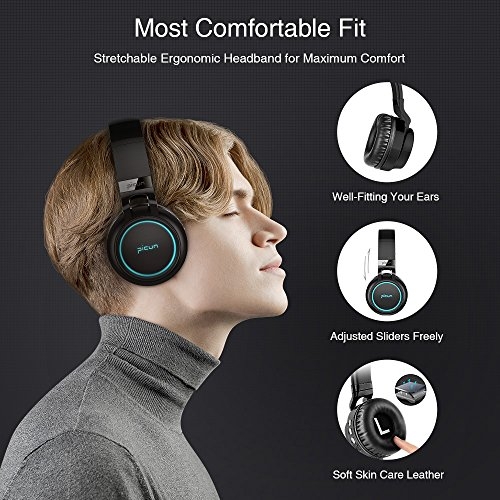 Picun Wireless Bluetooth Headphones LED Foldable Headsets Support 7 Colors Lights 20 Hour Playtime