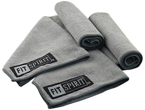 Fit Spirit Set of 2 Super Absorbent Microfiber Non Slip Skidless Sport Towels (20x40) - Gray Towels