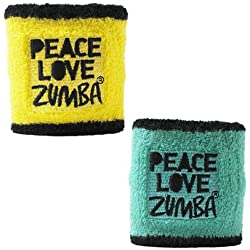 Zumba PLZ Wristbands Pack of 2, One Size, Caution/ Seafoam